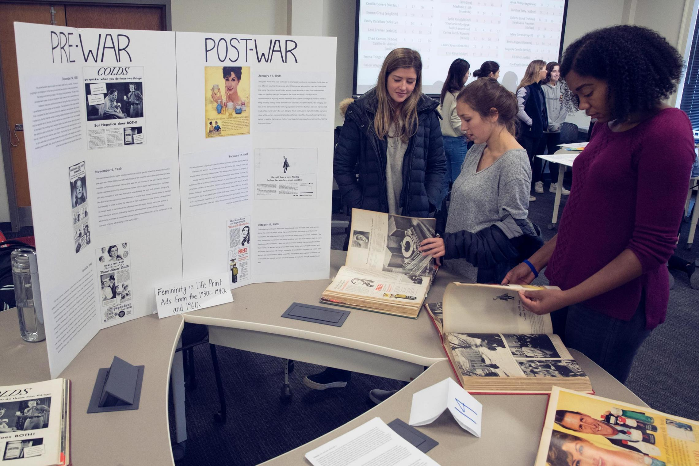 For final projects, students were charged with exploring the social consequences of media change – and making museum-style displays of their findings.