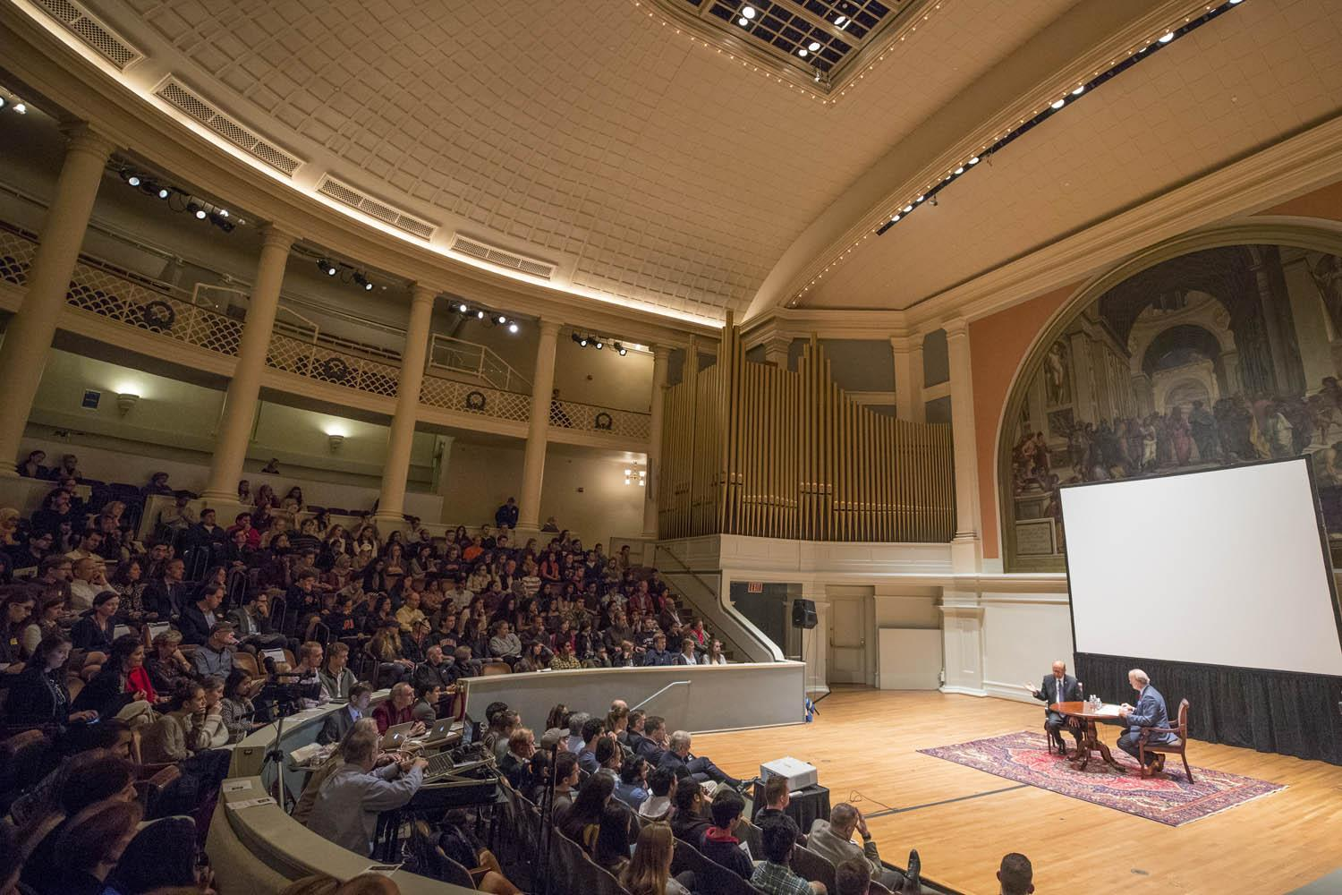 "Khizr Khan spoke Tuesday in Old Cabell Hall with ""American Forum"" host Douglas Blackmon. (Photos by Sanjay Suchak, University Communications)"
