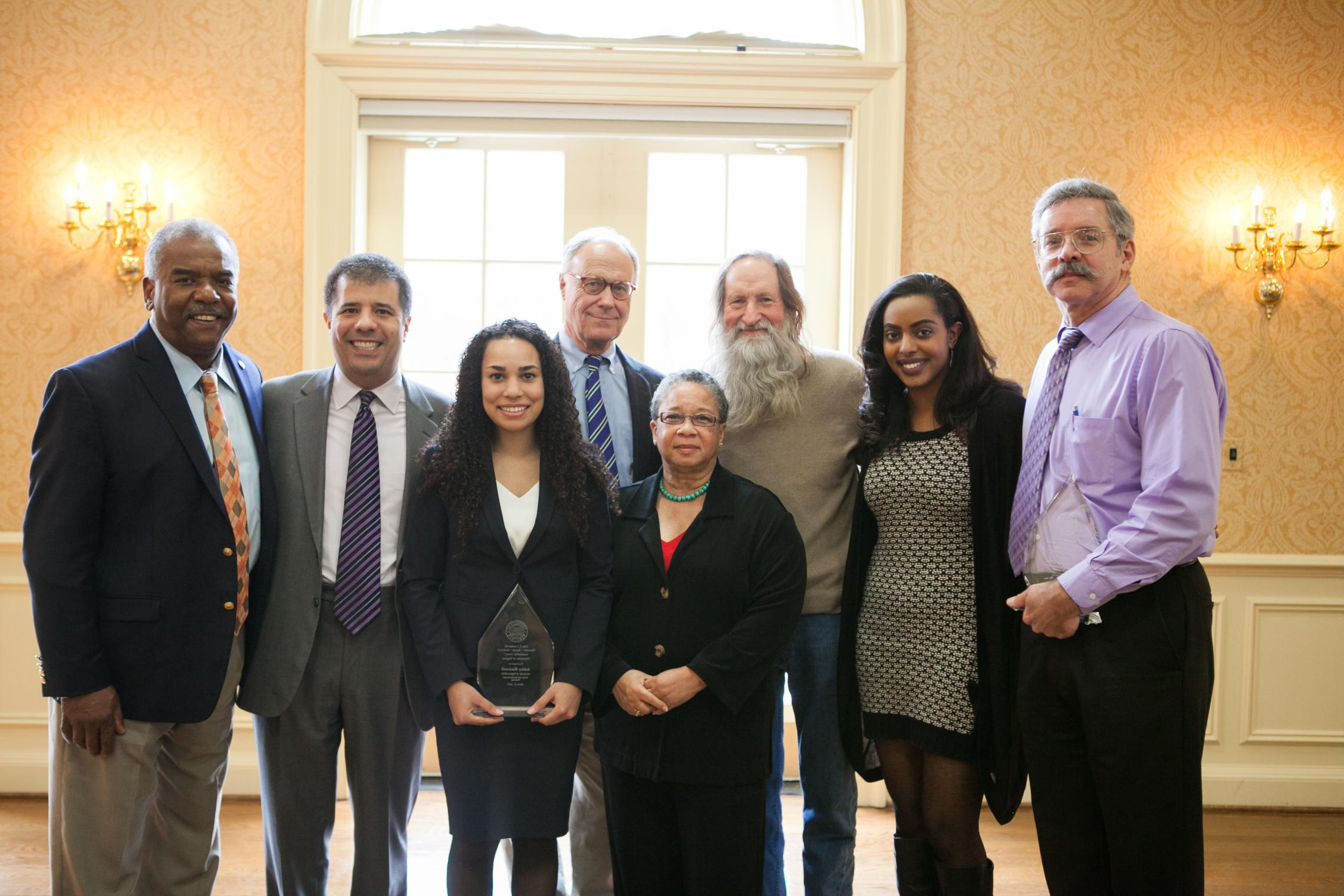 Award winners and others gathered at a previous luncheon: from left, Dr. Marcus L. Martin, Kim Forde-Mazrui, Ashley Blackwell, former President John T. Casteen III, Angela Davis, Bob Covert, Hajar Ahmed and Joel Hockensmith.