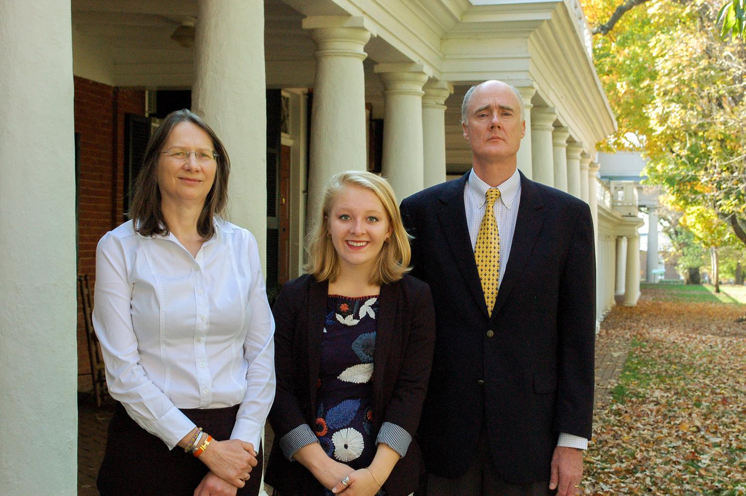 Sue Graham, left, and John Graham stand with Claire Romaine, the inaugural winner of a memorial award named after their late daughter, Hannah. The award will support Romaine's public health research in Rwanda.
