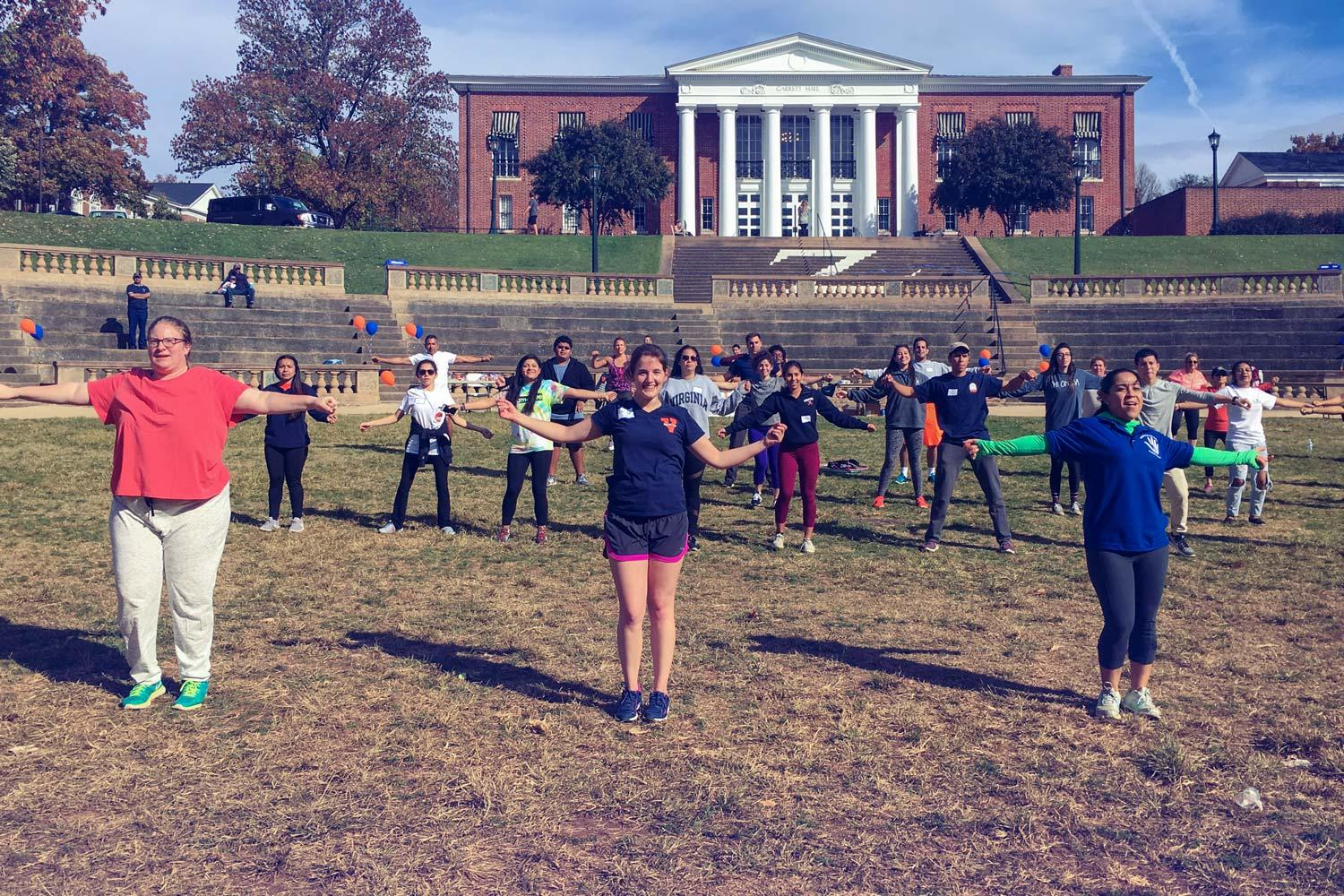 In October, UVA hosted a Zumba marathon on Grounds for the local Latino community. It was led by Corinne Lascala, a local instructor.