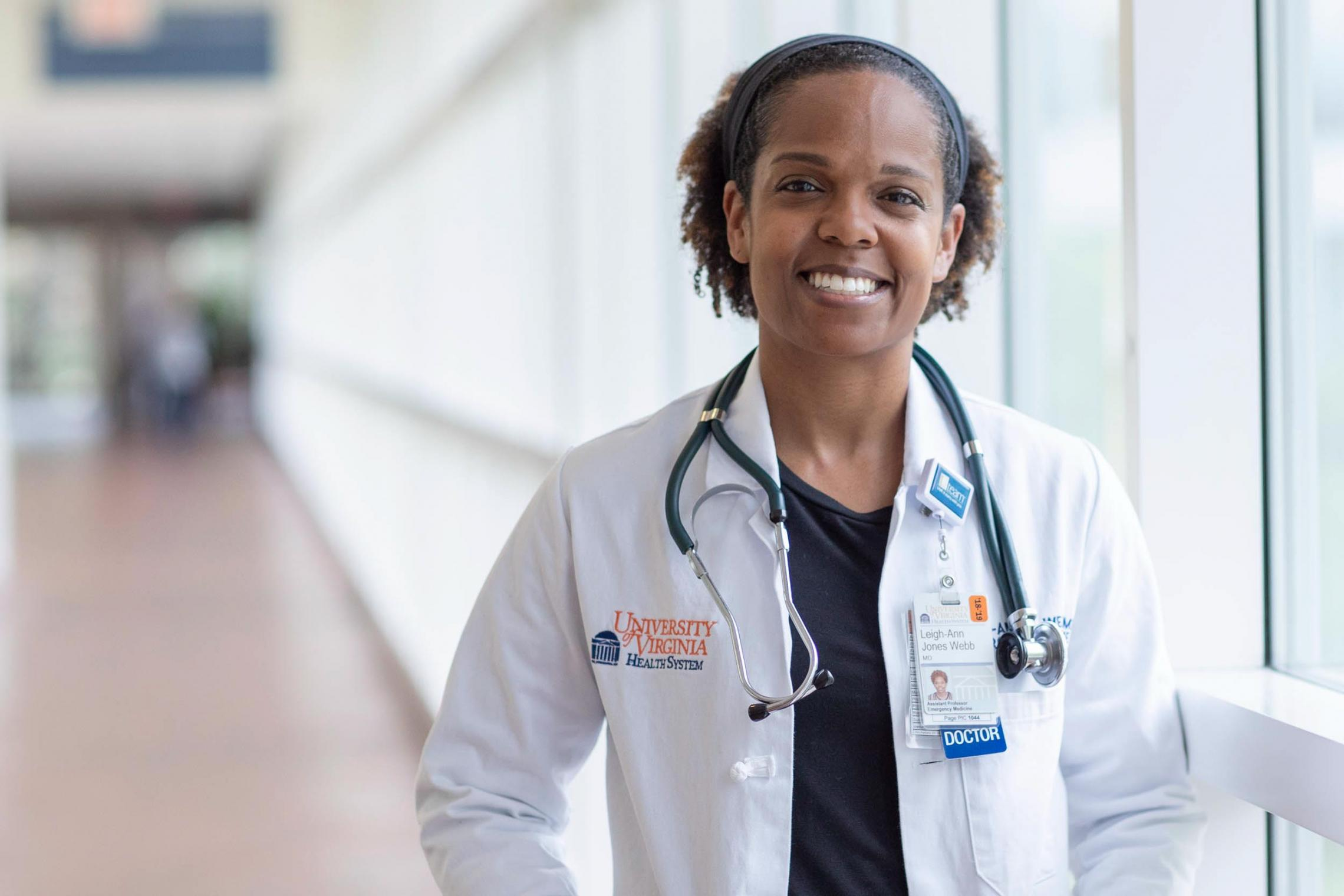 Dr. Leigh-Ann Webb met her husband, Cameron (also a doctor), when they were UVA first-year students. (Photo by Sanjay Suchak, University Communications)