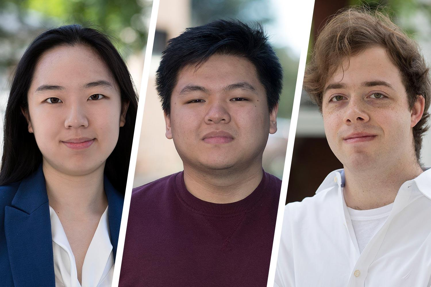 From left, Chelsea Li, Jonathan Zheng and Karl Westendorff earned Goldwater Scholarships to support their studies in science and engineering fields.