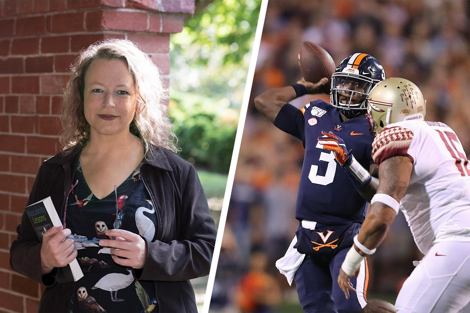 """Lisa Speidel (left) was at a rock concert when Cavaliers football player Bryce Perkins (right) gave her a """"shout-out"""" during Saturday's win over Florida State."""