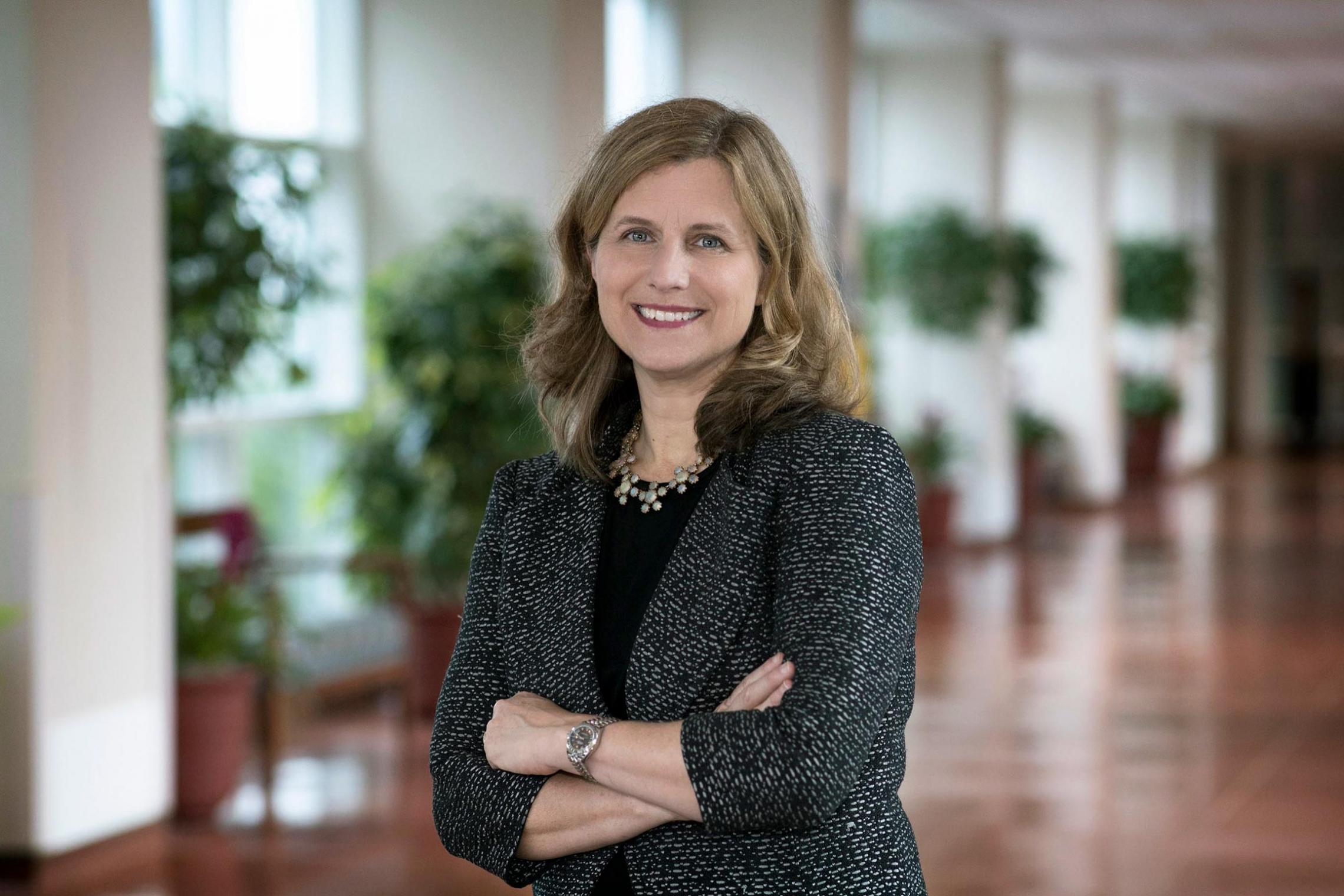 """Elizabeth """"Liz"""" Magill returned to UVA, where she was on the School of Law faculty for 15 years, after serving as dean of Stanford University's Law School."""