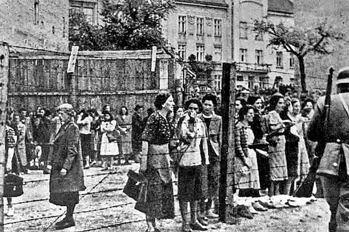 Jewish residents pictured inside the Lviv ghetto in Ukraine.