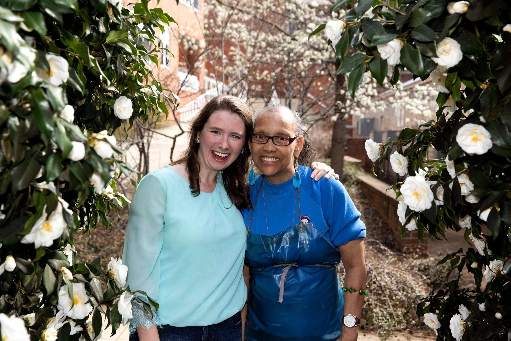 Maeve Curtin and Linda Miles are members of Best Buddies, an international nonprofit that creates opportunities for one-to-one friendships for people with intellectual and developmental disabilities. (Photo by Dan Addison, University Communications)