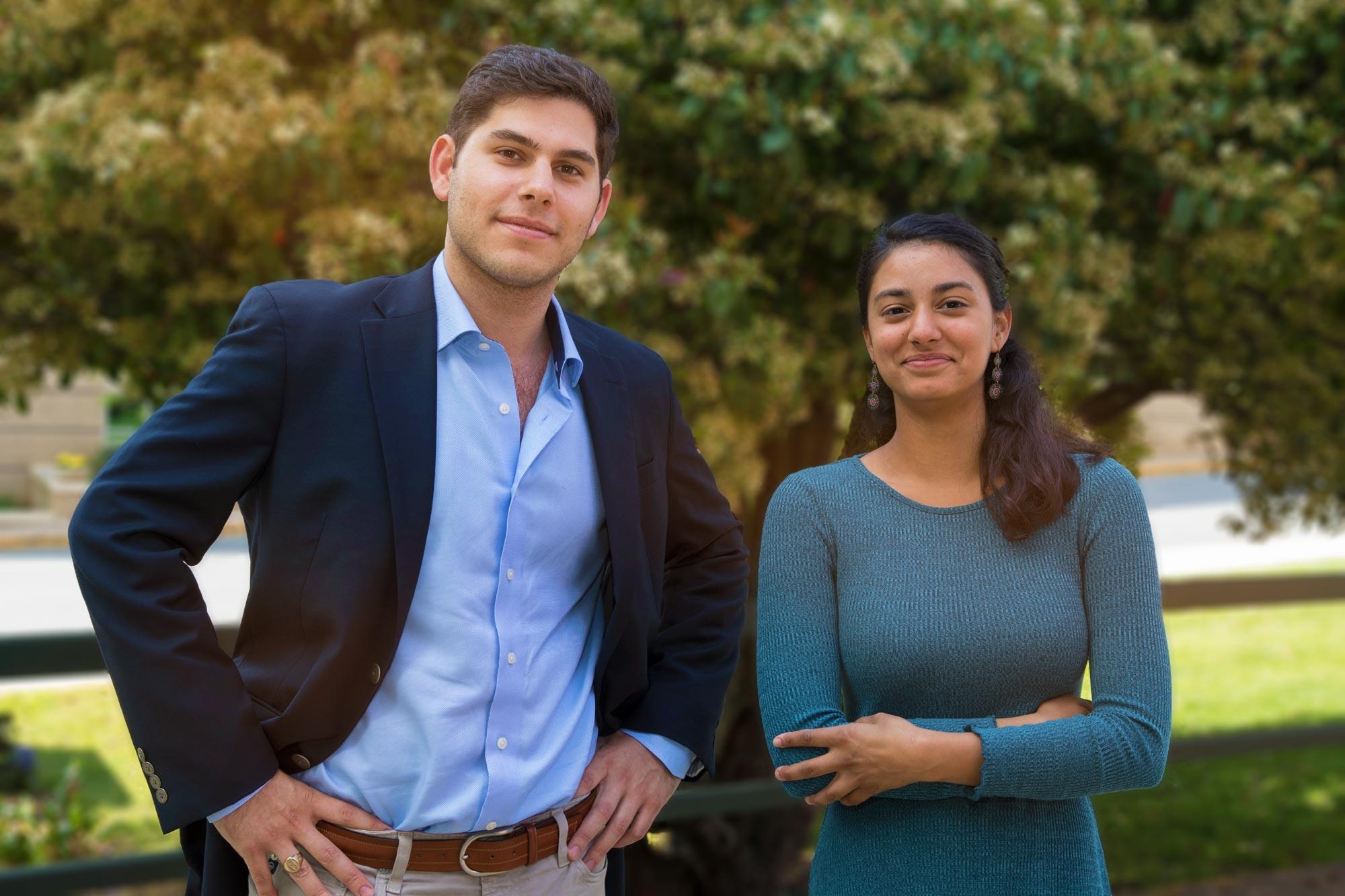 Marc Blatt is going to medical school at Vanderbilt University. Sabhi Singh will attend the Albert Einstein College of Medicine. (Photo by Dan Addison, University Communications)