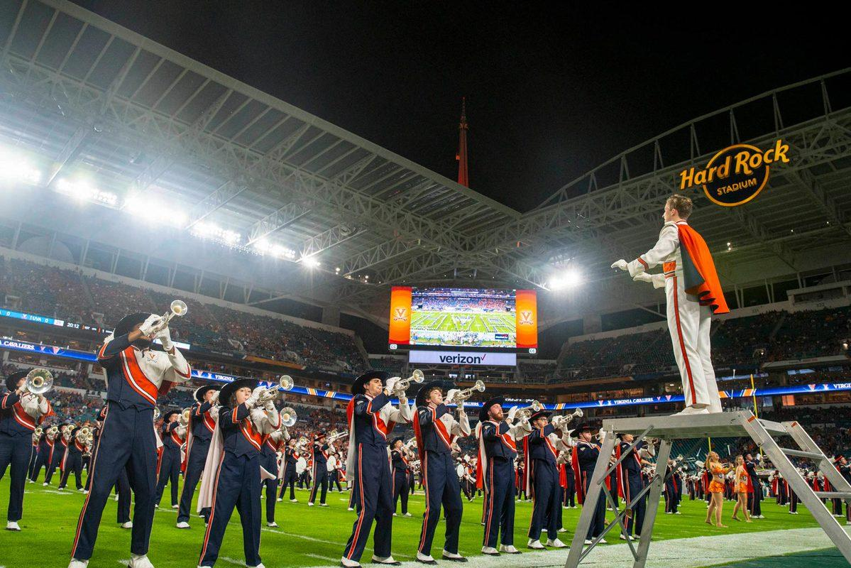 The Cavalier Marching Band plays during the 2019 Capital One Orange Bowl in Miami Gardens, Florida. (Photo by Sanjay Suchak, University Communications)