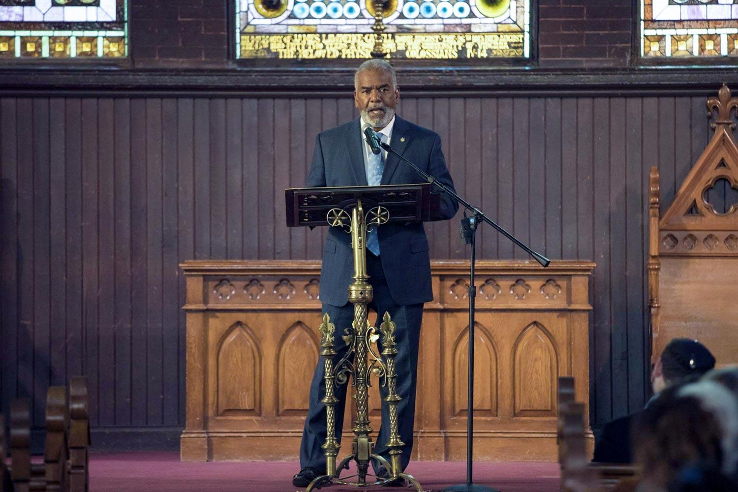 Dr. Marcus Martin, UVA's vice president for diversity and equity, addresses the audience during last year's inaugural observance of Liberation and Freedom Day.