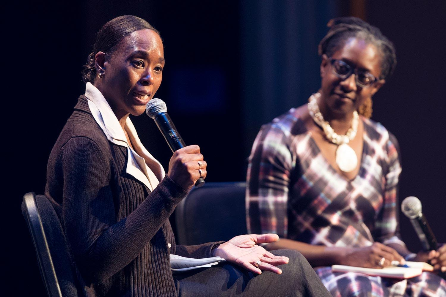 "Margot Lee Shetterly, left, author of ""Hidden Figures,"" talked with students and College Fellow Lisa Woolfork, an English professor, for the first Arts & Sciences' Engagements lecture."
