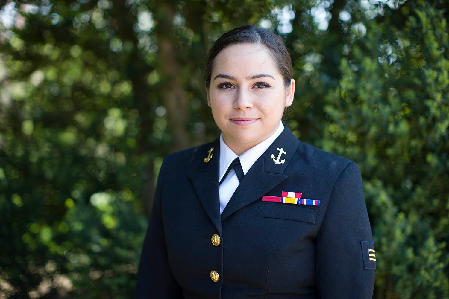 Maribeth Salinas continues a family tradition by entering the military after graduation. (Photo by Richard Dizon, University Communications)