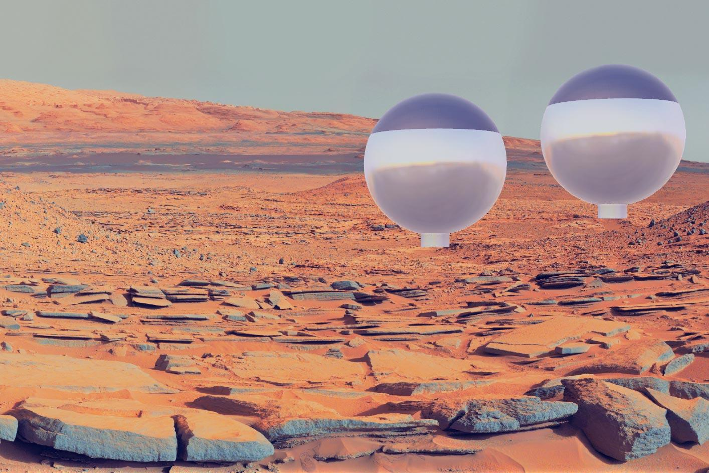 Rendering of what the Gupta team's solar-power-harvesting balloons might look like on the surface of Mars.