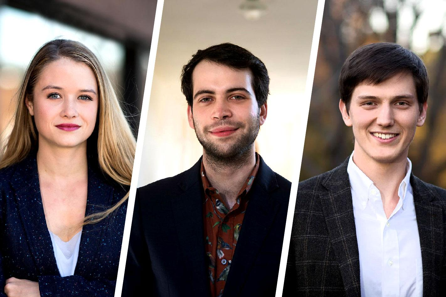 From left, Sarah Koch, Abraham Axler and William Henagan each earned Marshall Scholarships to pursue graduate study in the United Kingdom. (Photos by Dan Addison, University Communications)