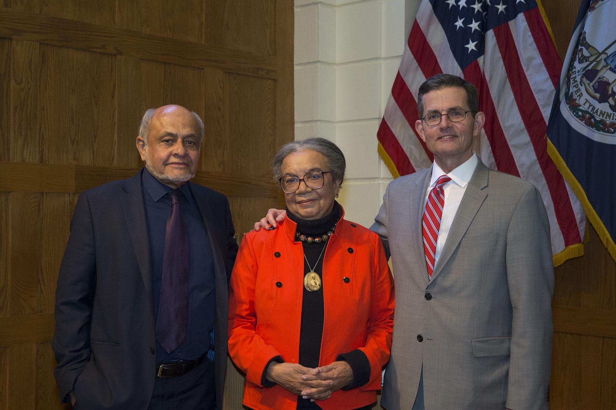 From left, Thomas Jefferson Foundation Medal recipients Cecil Balmond, Marian Wright Edelman and John Gleeson. Gordon Moore, not pictured, delivered his remarks via video link.