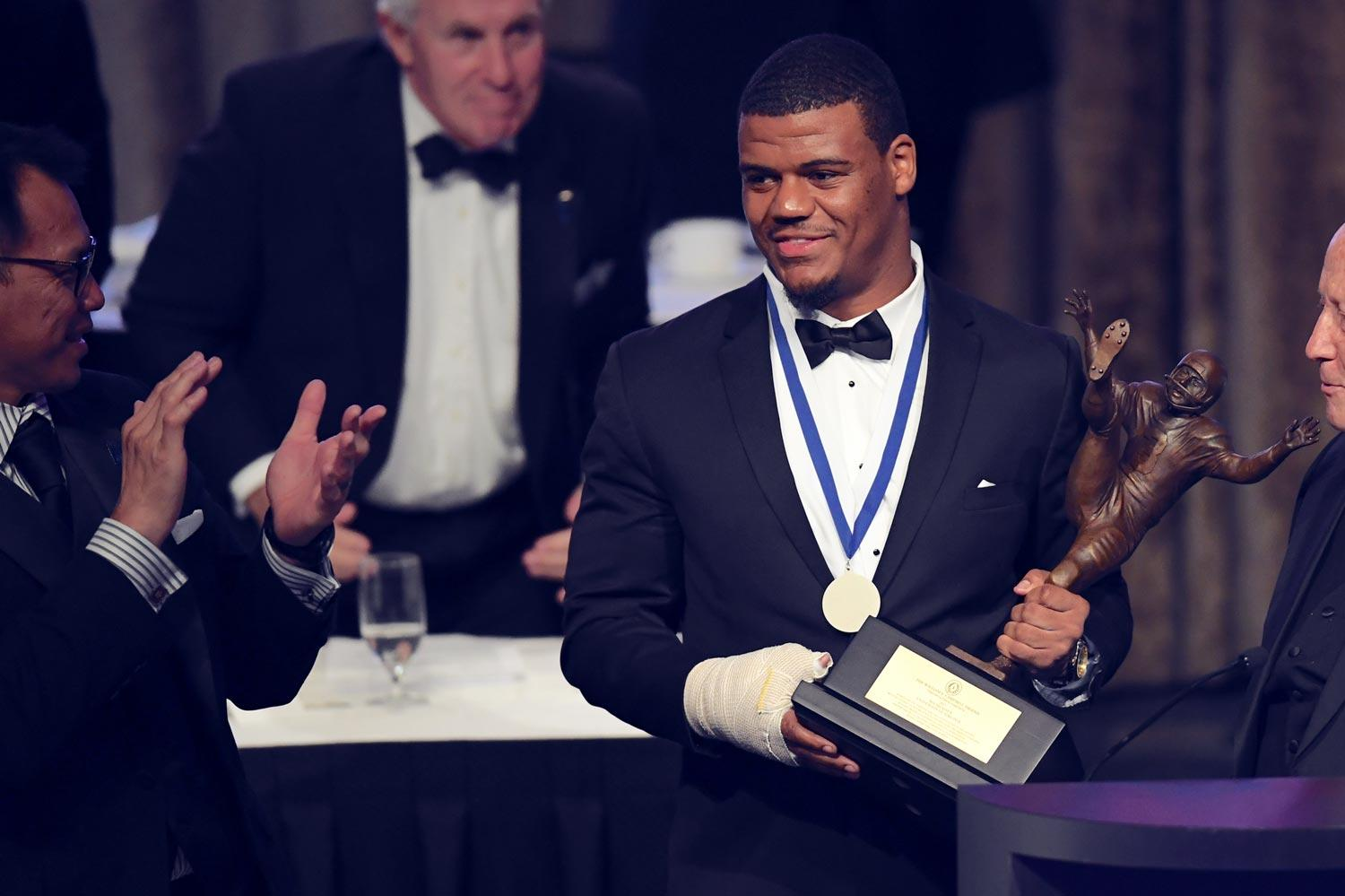 UVA linebacker Micah Kiser accepts the Campbell Trophy Tuesday at the National Football Foundation & College Hall of Fame's annual dinner, held in New York City. (Photo courtesy of UVA Athletics)