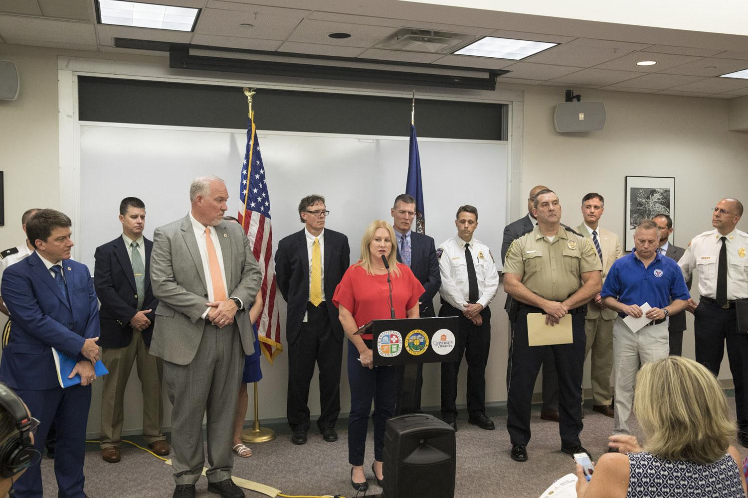 University, state and local officials briefed the media Wednesday on security plans as Virginia Gov. Ralph Northam declared a state of local emergency. (Photo by Dan Addison, University Communications)