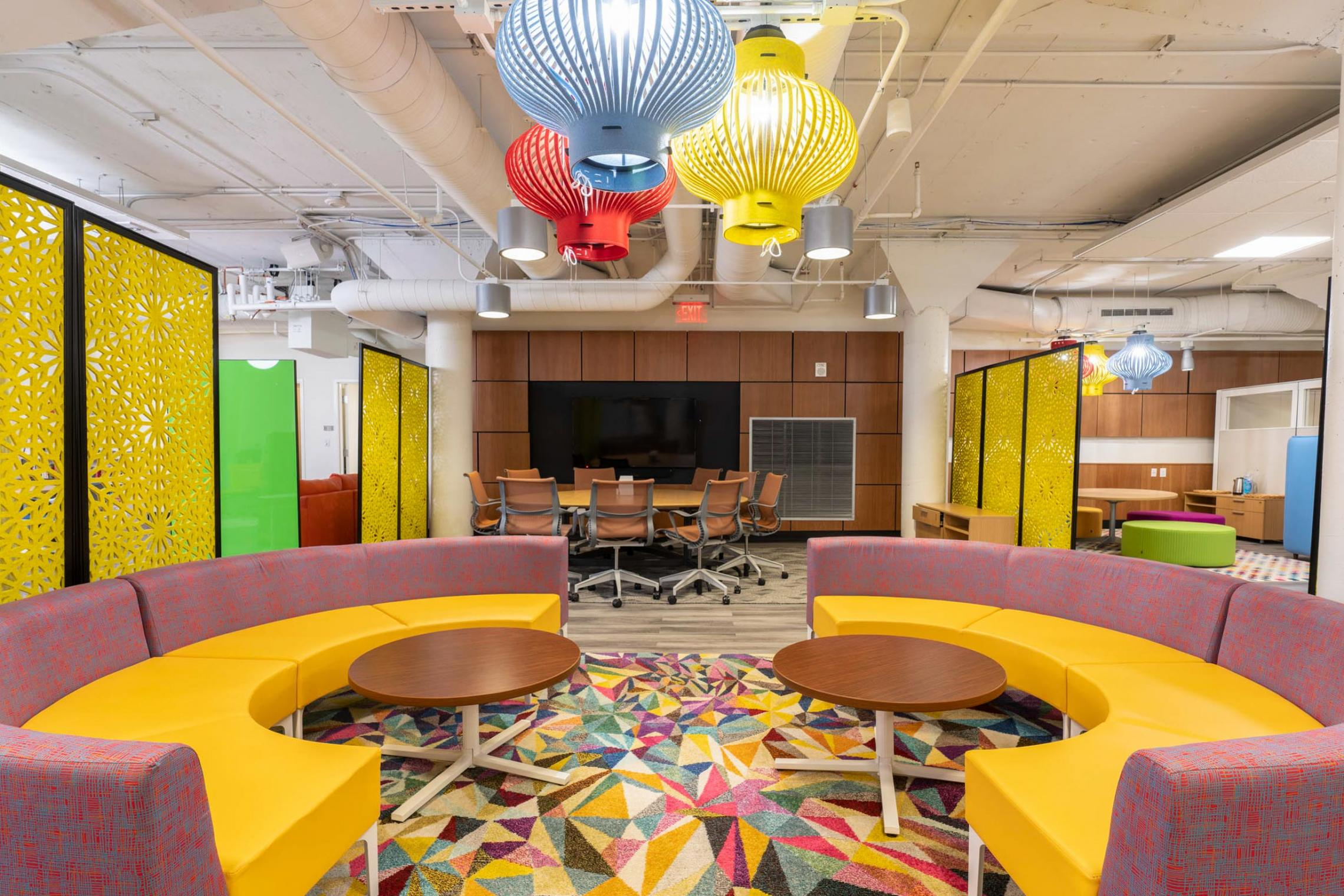 Colorful, comfortable furnishings welcome students to the new Multicultural Student Center.