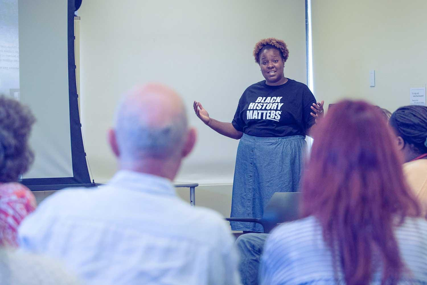 Niya Bates, Public Historian of Slavery and African-American Life at Monticello, discussed efforts to bring the stories of slavery into modern historical narratives before programming stopped on Aug. 12.