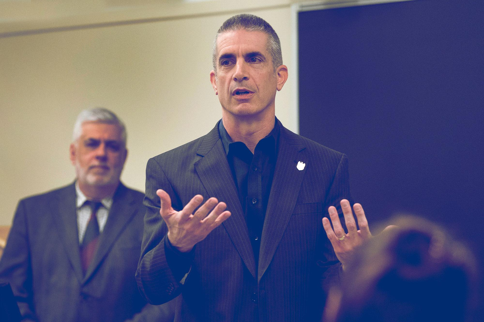 """NCIS Director Andrew Traver spoke with students in Yuri Urbanovich's """"Russian Politics"""" course on Thursday."""