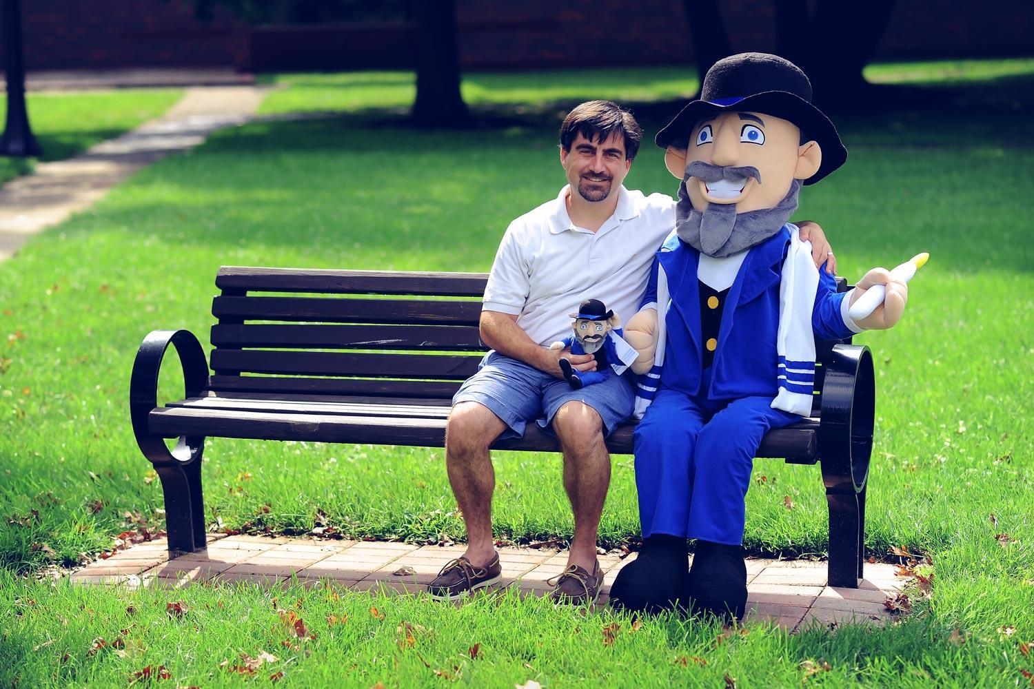 "Neal Hoffman and ""Mensch on a Bench."""