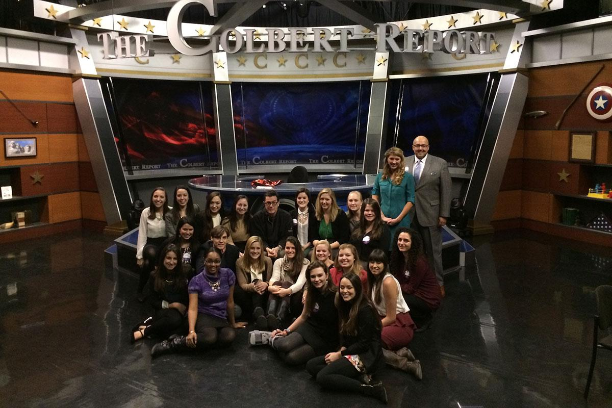 "Students from Vaidhyanathan's 2014 J-term class meet with Stephen Colbert in his final year with the ""Colbert Report"" before taking over ""The Late Show."""