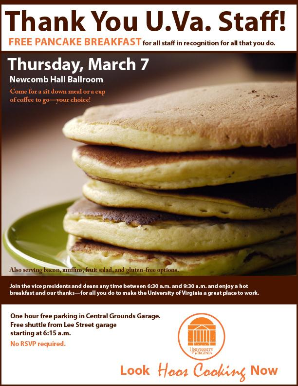 university leaders invite staff to a pancake breakfast uva today