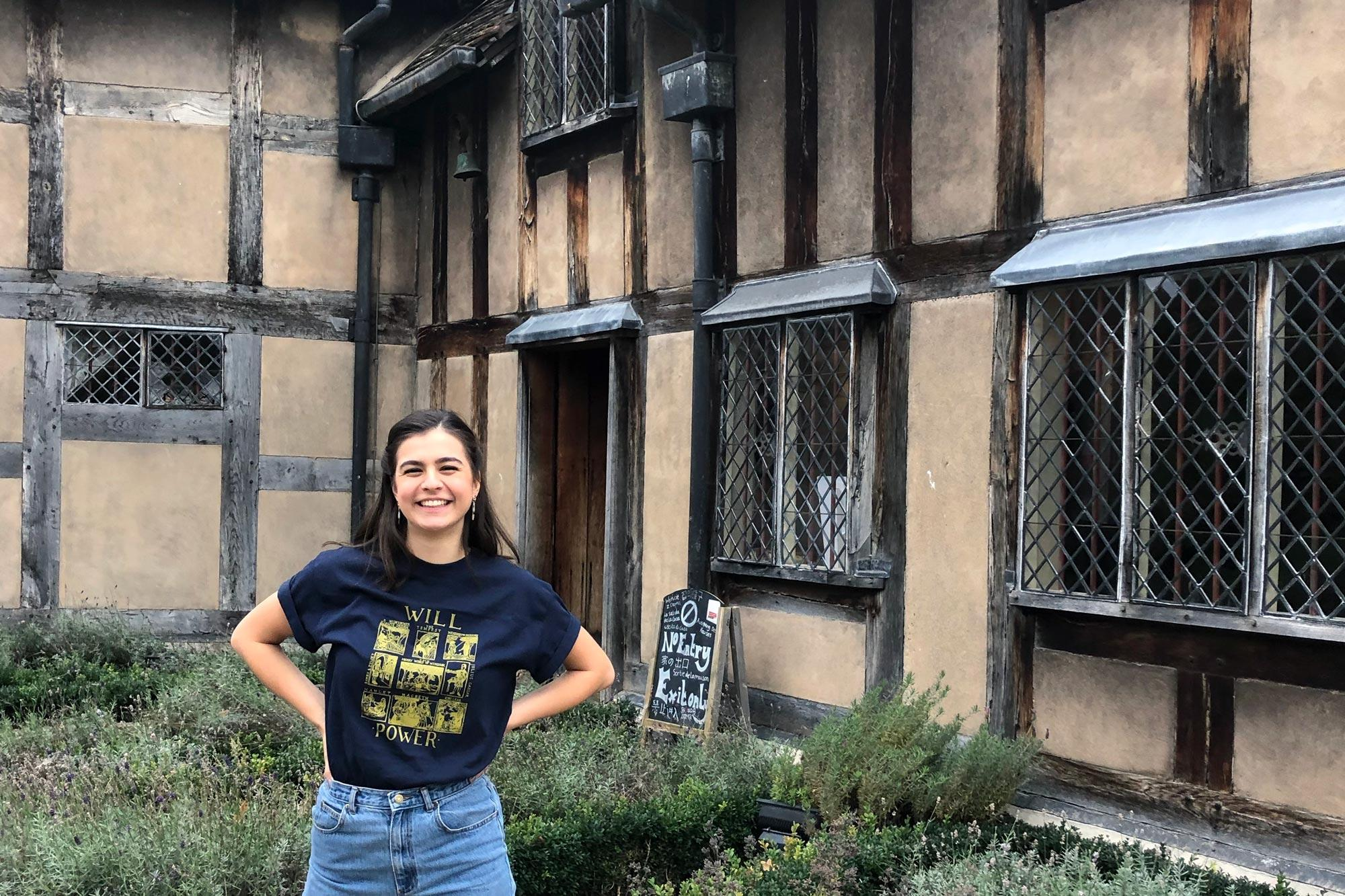 Third-year drama major Payton Moledor stands outside Shakespeare's birthplace, one of the many places she visited while studying in London.