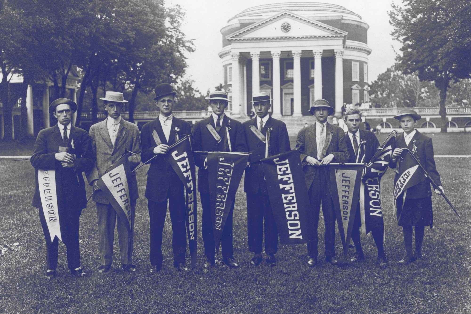 Jefferson Society members on the Lawn, circa 1910.