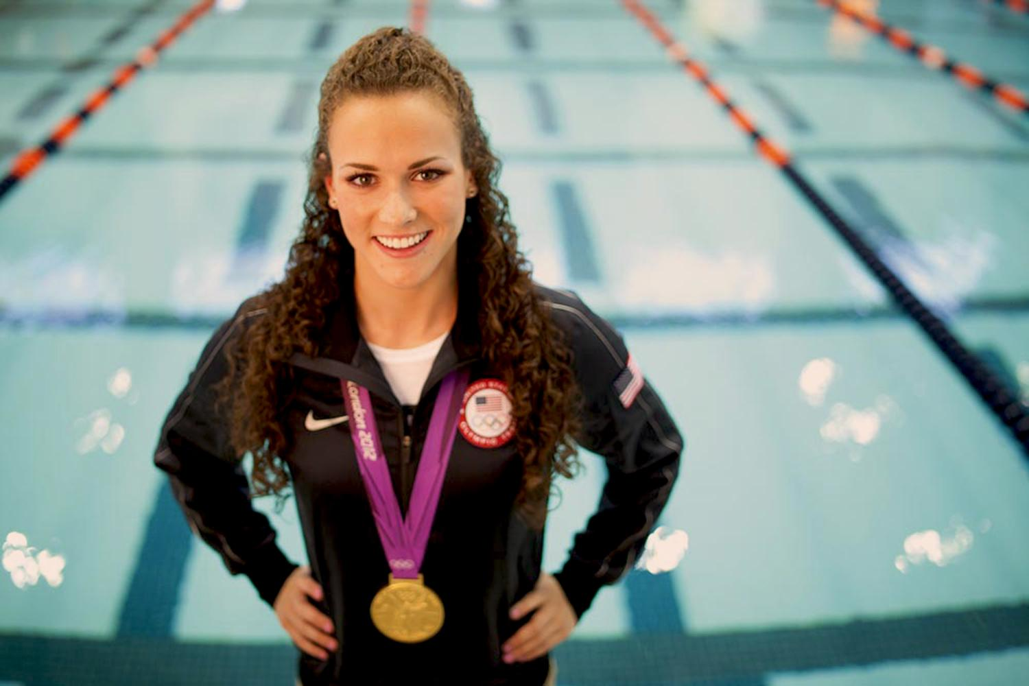 "Swimmer Lauren Perdue won gold and silver medals in London, but said she downplays her athletic feats in job interviews. ""That's not why I want to get hired,"" she said."