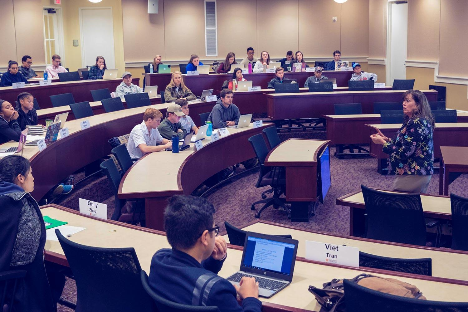 In the personal finance class offered by the McIntire School of Commerce, non-business students learn about building credit, saving for a home or creating an investment portfolio.