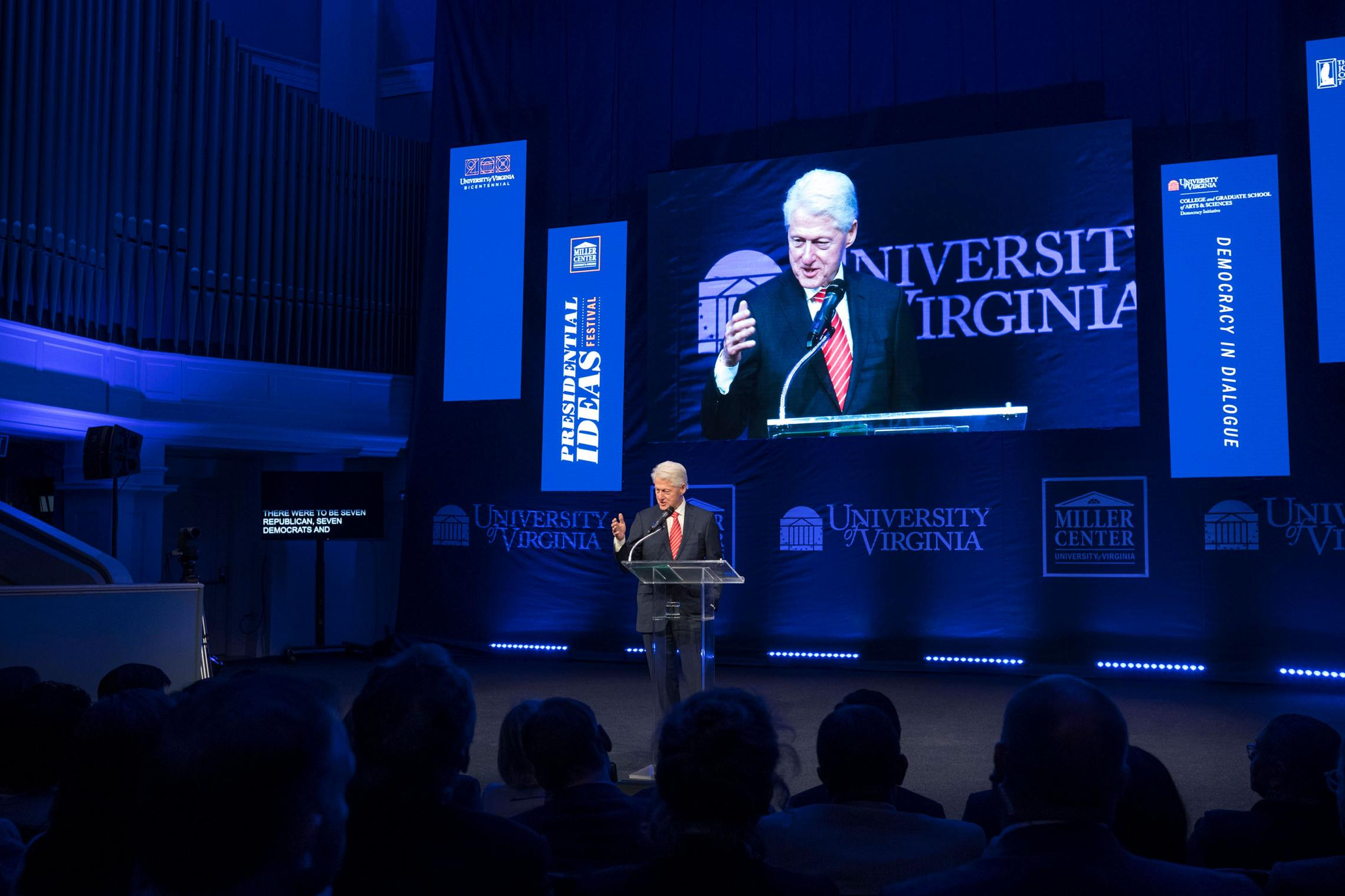 Former President Bill Clinton closed out the festival on Friday, ending three days of discussion between White House veterans, policymakers, UVA faculty members, students and audience members. (Photo by Dan Addison, University Communications)