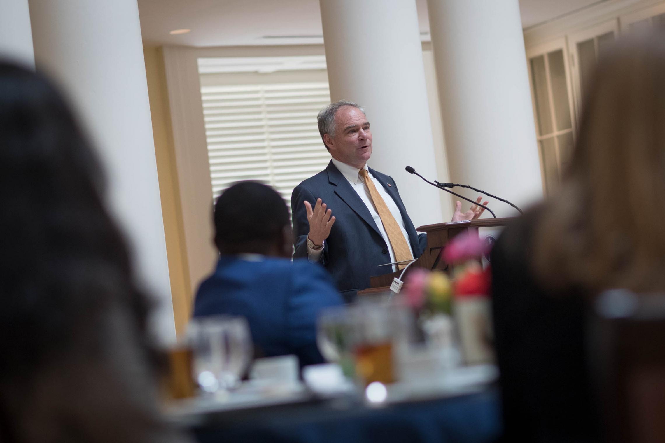 U.S. Sen. Tim Kaine congratulated this year's Mandela Washington Fellows and encouraged them to become politically involved in their communities. (Photo by Sanjay Suchak, University Communications)