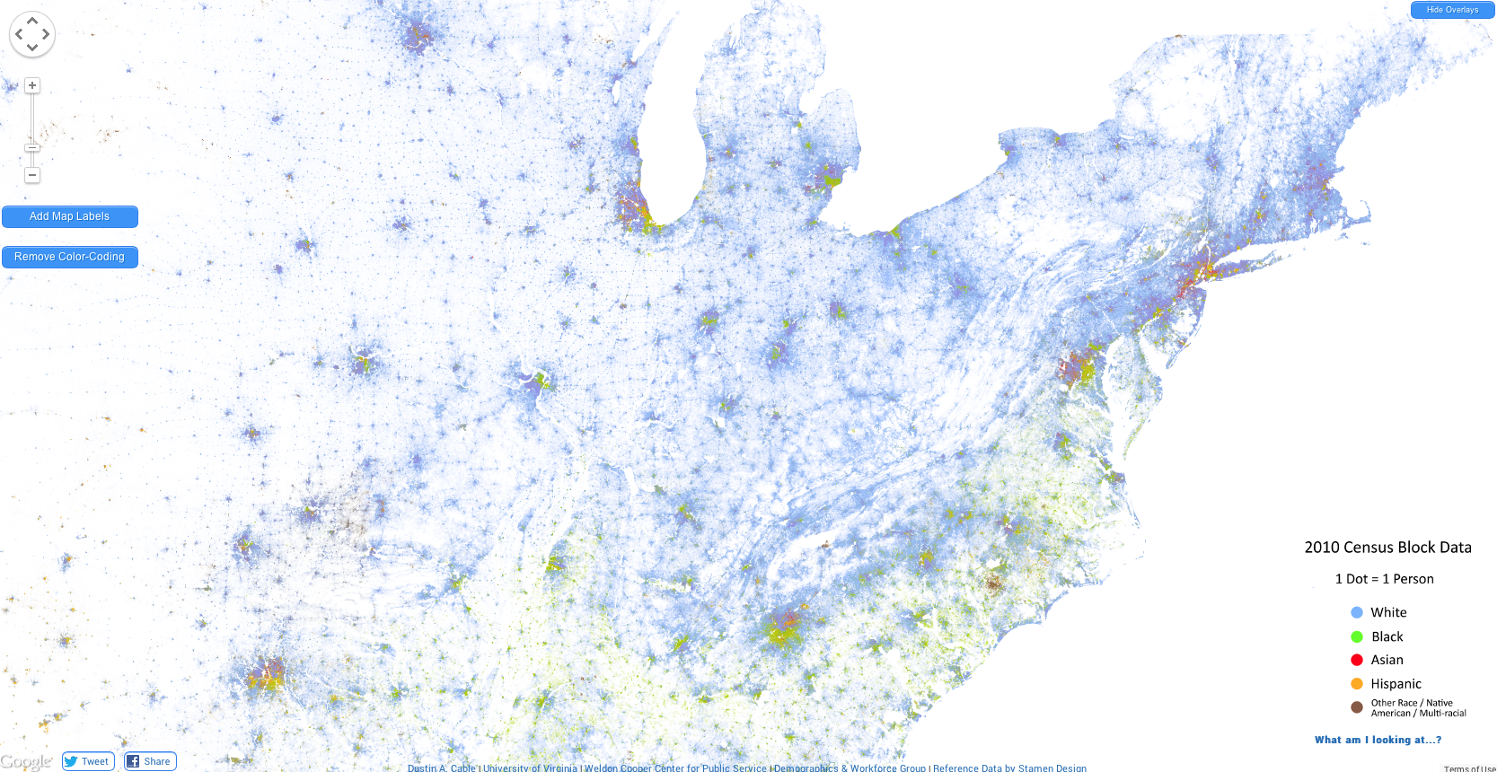 Us census dot map on