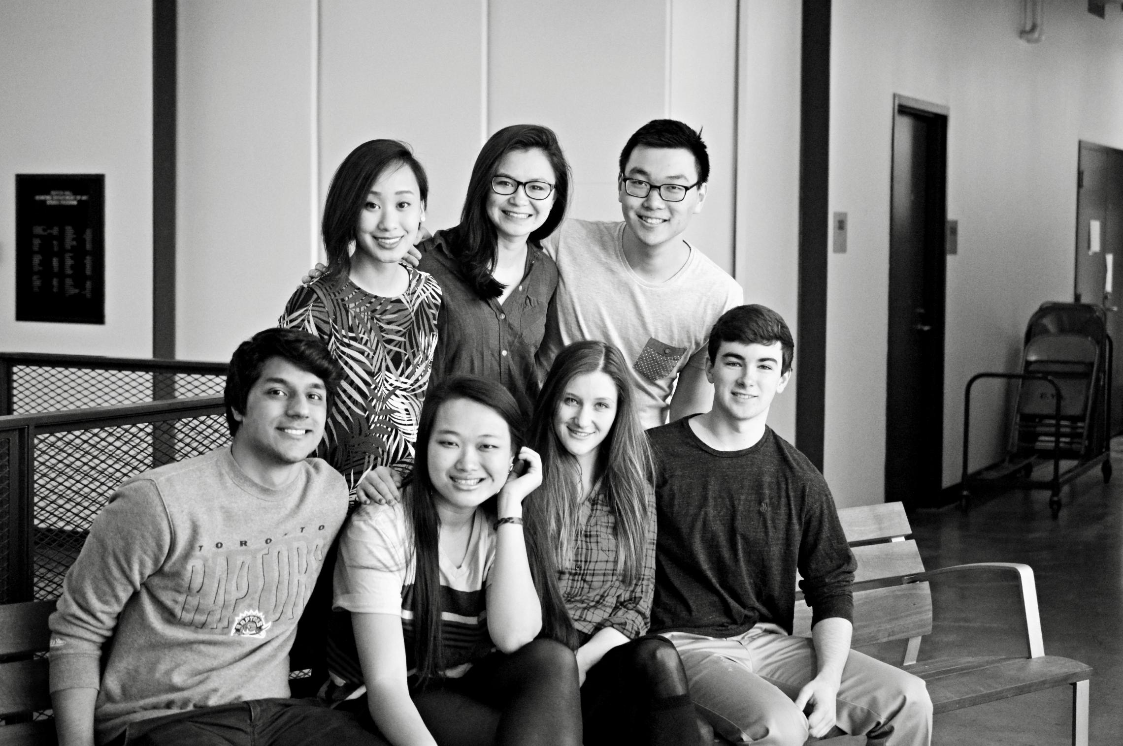 Arthur Wu and Kelsey Miller with the rest of their team. Top row, left to right: Katherine Jiang, Tania Ermak, Wu. Bottom row, left to right: Karan Baboota, Ariel Kao, Miller, Cameron Upshaw.