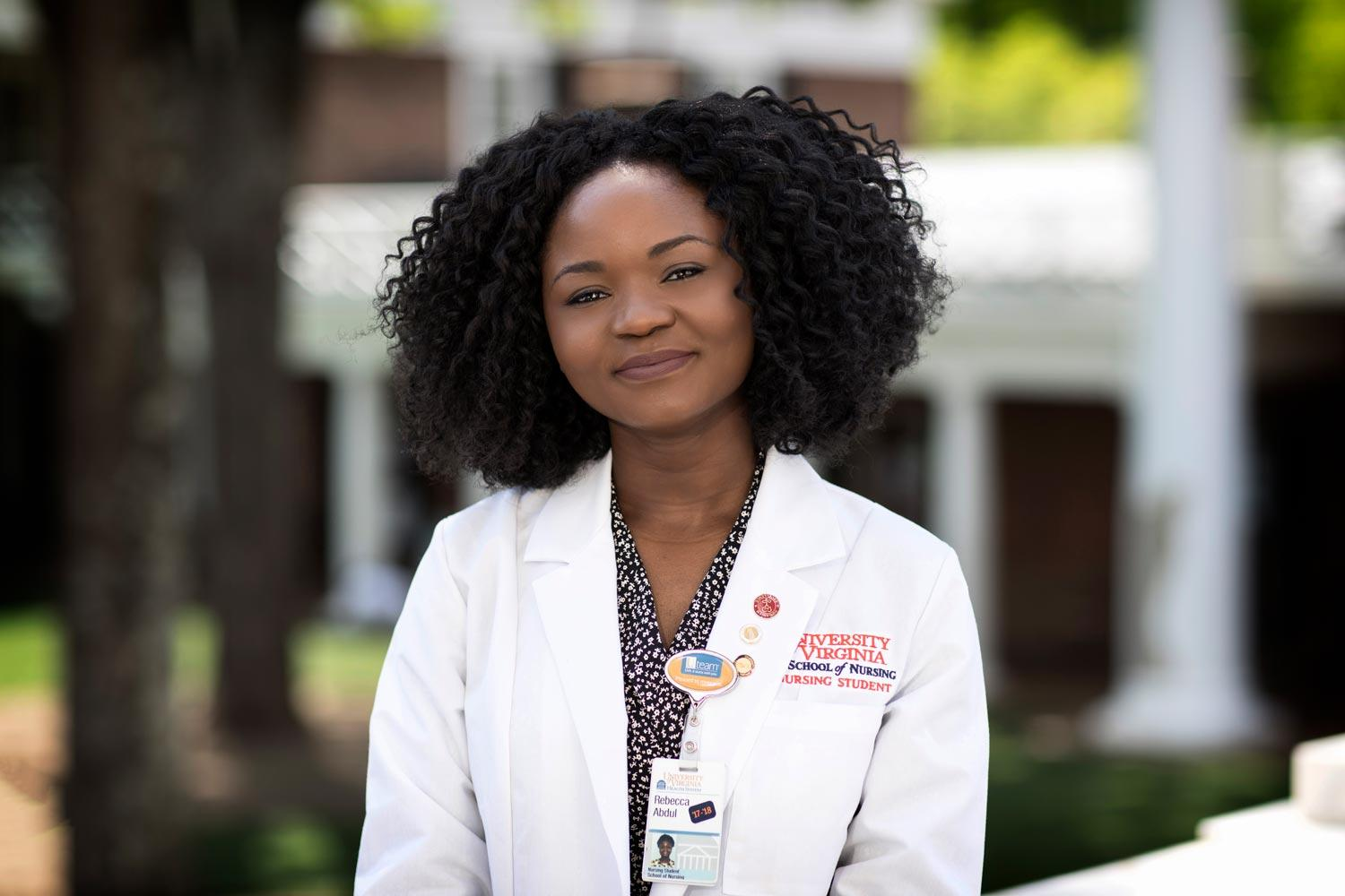 Nursing student Rebecca Abdul will earn a Bachelor of Science in Nursing when she walks the Lawn on May 20. (