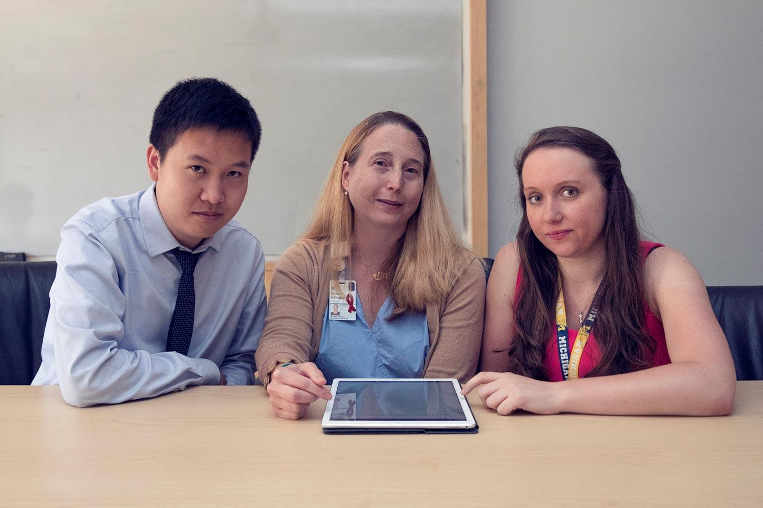Some of the people behind PositiveLinks: Tianyi Jin, web developer; Dr. Rebecca Dillingham; and Marika Grabowski, clinical data manager.