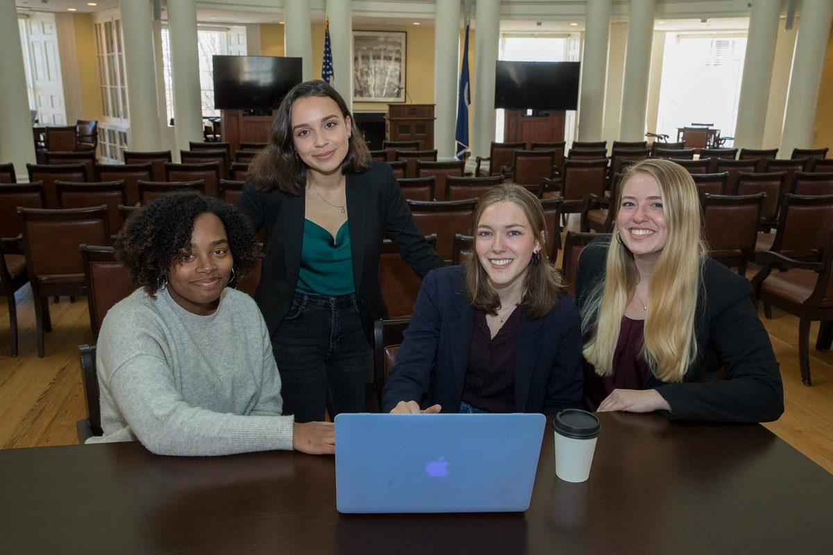 """The student team running the """"Reflections"""" oral history project: from left, Logan Botts, Kayla Dunn, Julia Rupp and Marisa Dinko."""