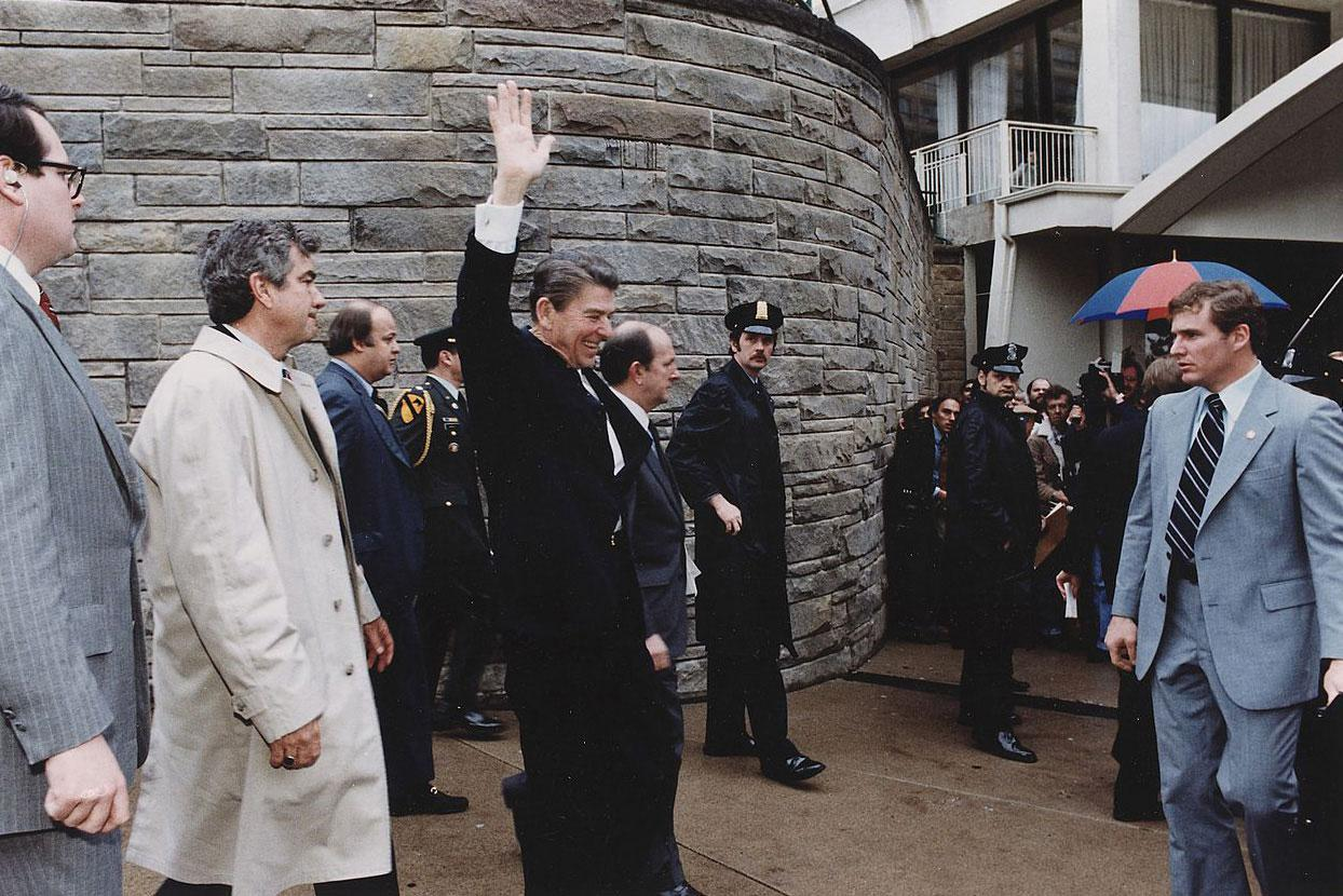 The scene outside of the Washington Hilton moments before President Reagan was shot on March 30, 1981.