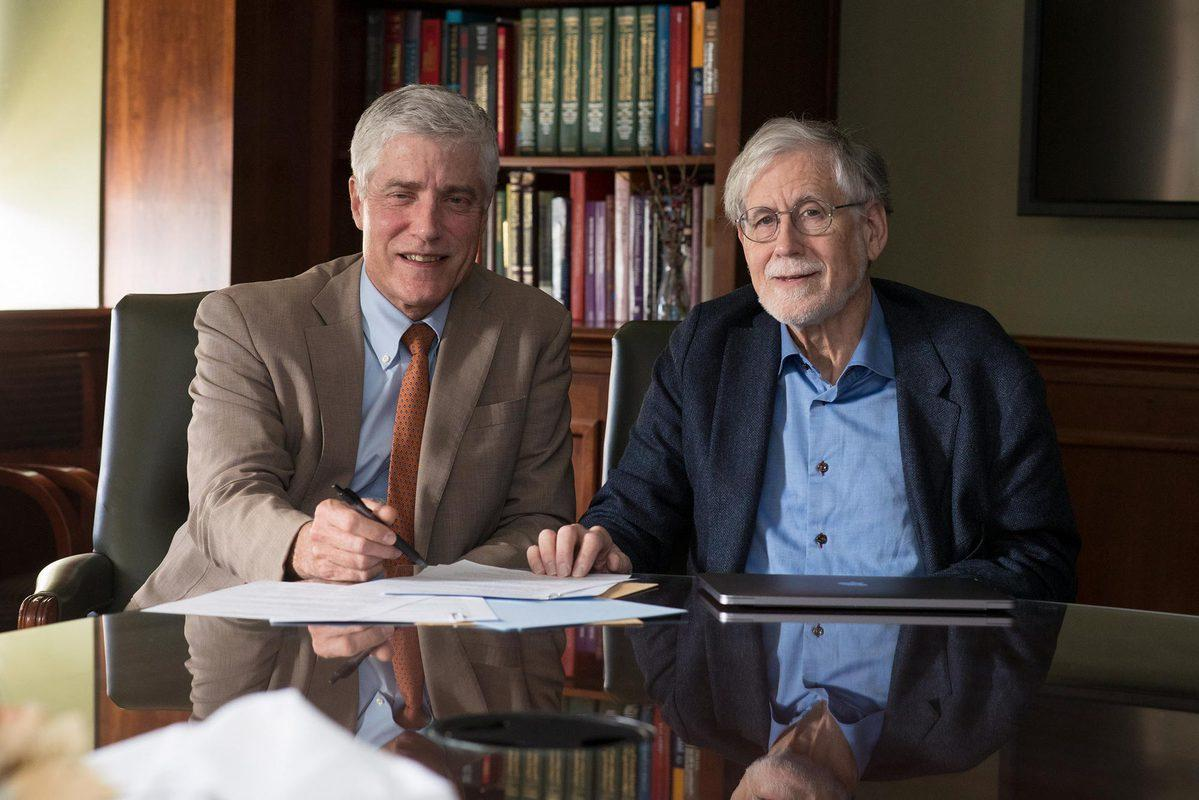 Dr. Peter Netland, professor of ophthalmology, left, and Robert Grainger, professor of biology, work together to understand and improve treatment of congenital eye disorders.