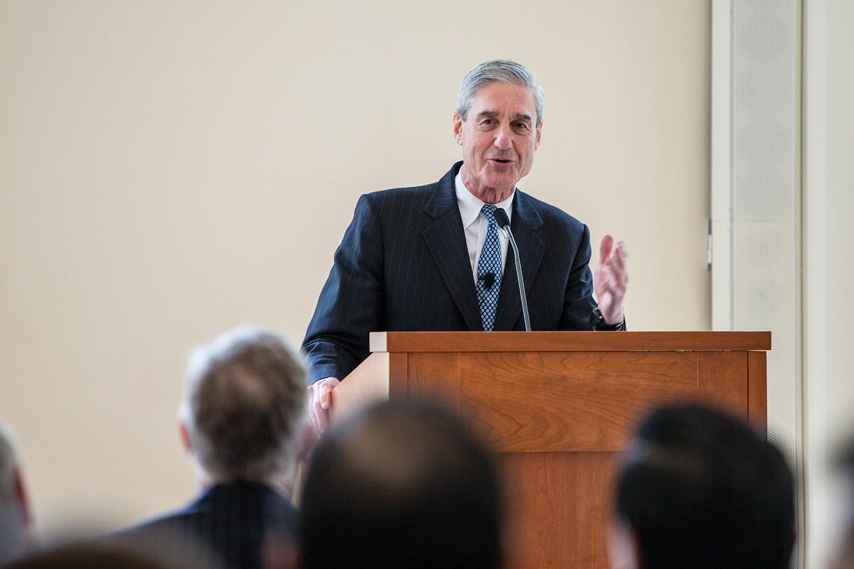 Robert S. Mueller III speaking at the Law School in 2013.