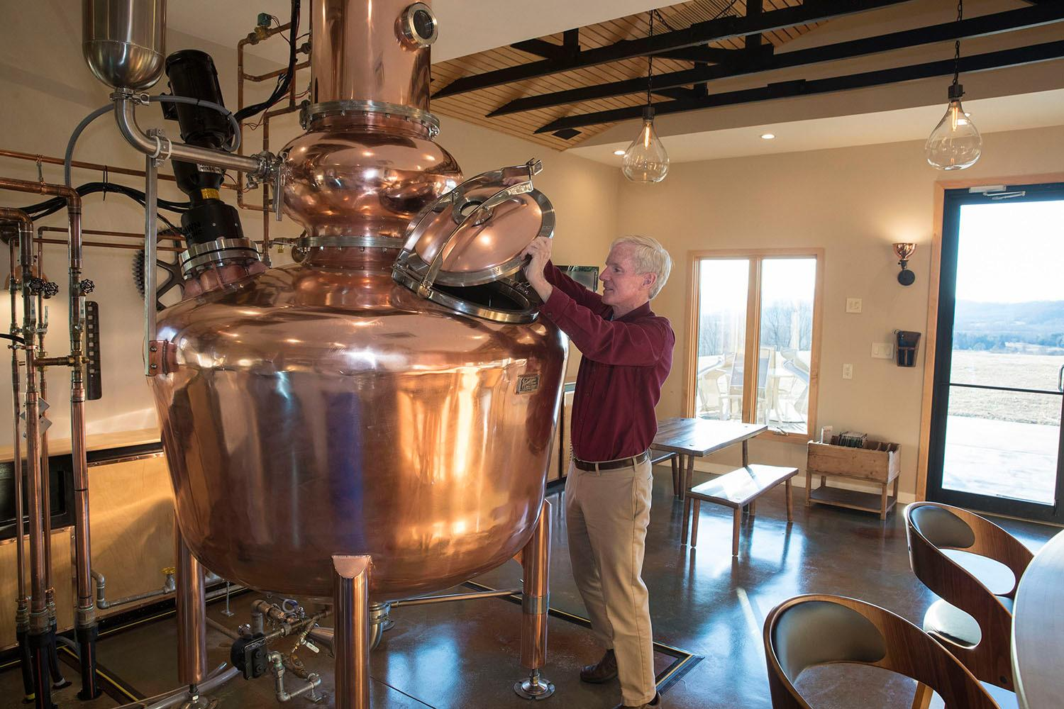 Robin Felder, a professor of pathology and associate director of laboratory medicine, is the owner of Monte Piccolo Distillery.