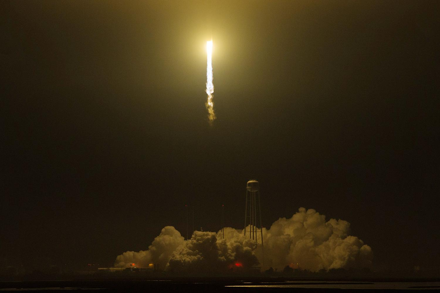 An Orbital ATK Antares rocket launches May 21 from NASA's Wallops Flight Facility in Virginia with the Cold Atom Laboratory aboard a Cygnus spacecraft.