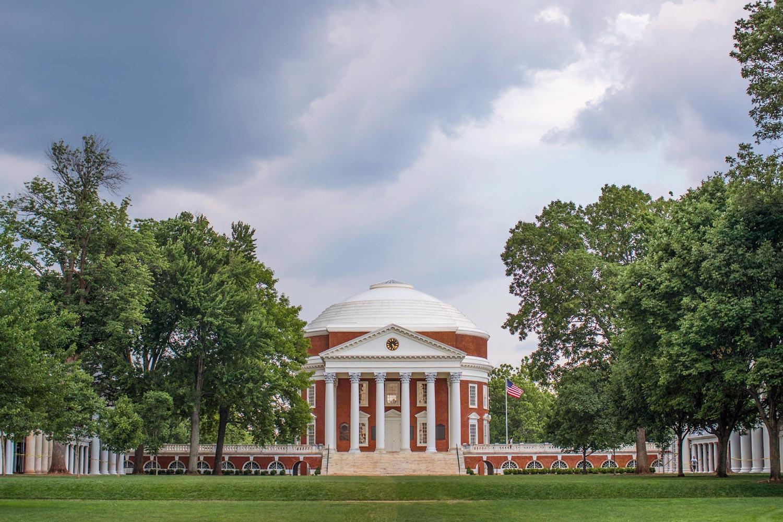 The Rotunda at the University of Virginia, on an overcast day