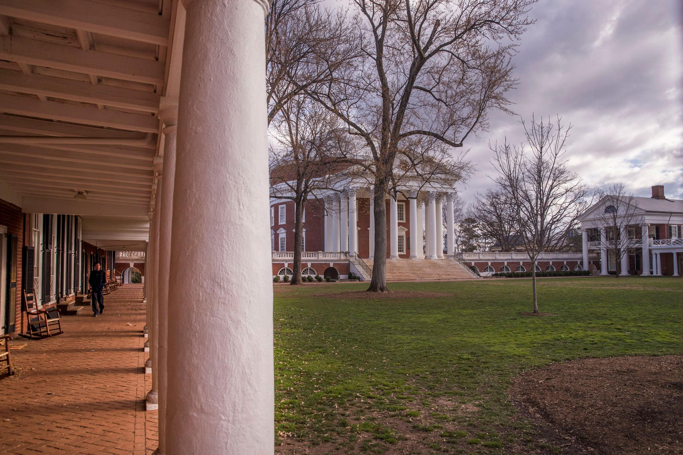 """Updates and markers on Grounds will commemorate events that spurred change at UVA, such as the 1969 anti-war, pro-civil rights """"Coat and Tie Rebellion"""" at the Rotunda. (Photo by Sanjay Suchak, University Communications)"""