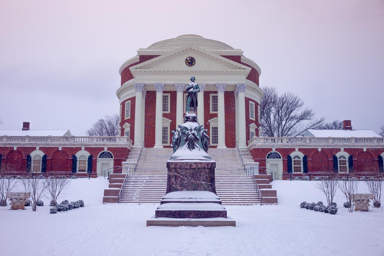 UVA's Rotunda in snow