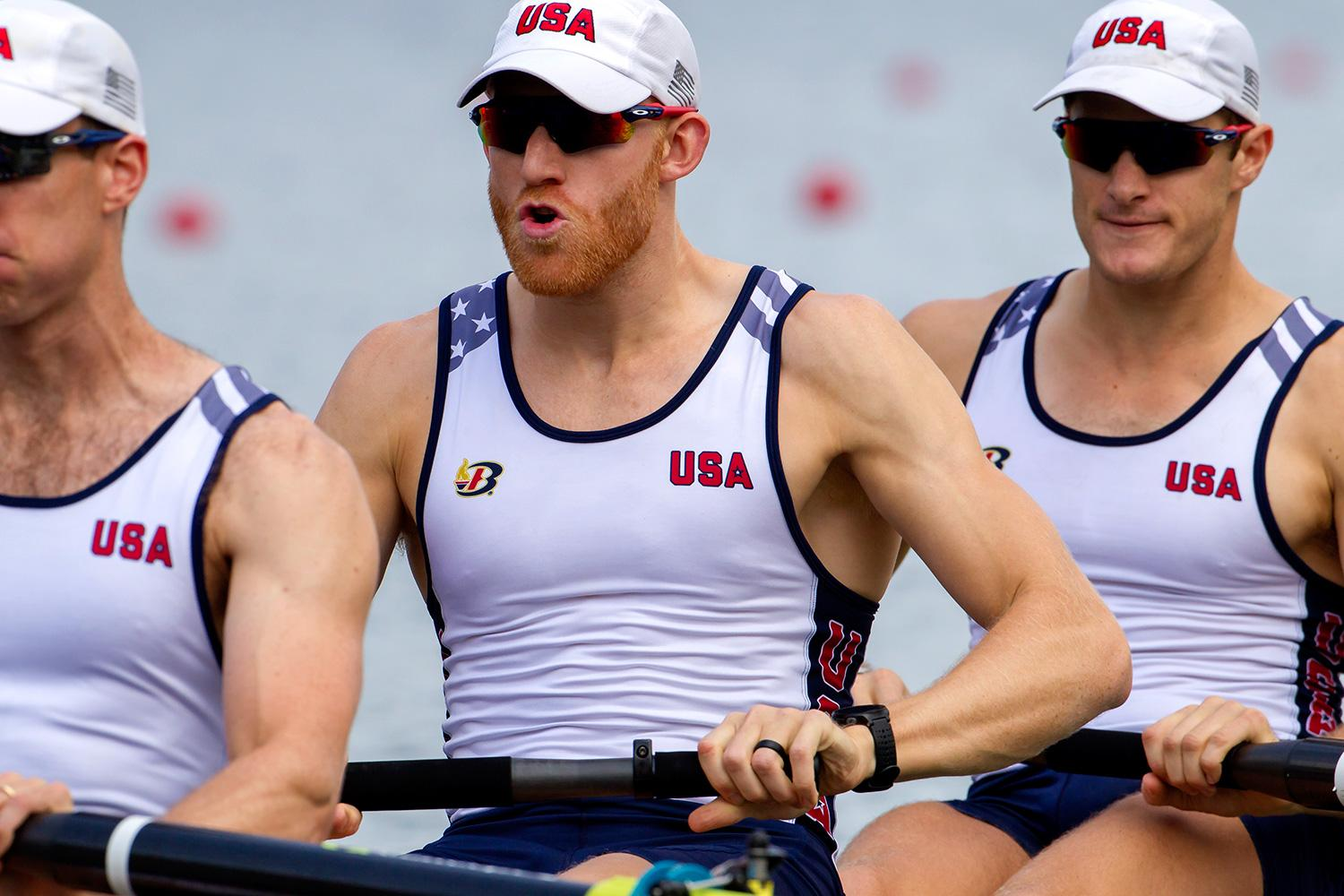 Matt Miller, center, and his U.S. teammates placed seventh overall in Rio, but their winning time in the 'B' final was the second-fastest of the day. (Photo by Ed Hewitt via row2k.com)