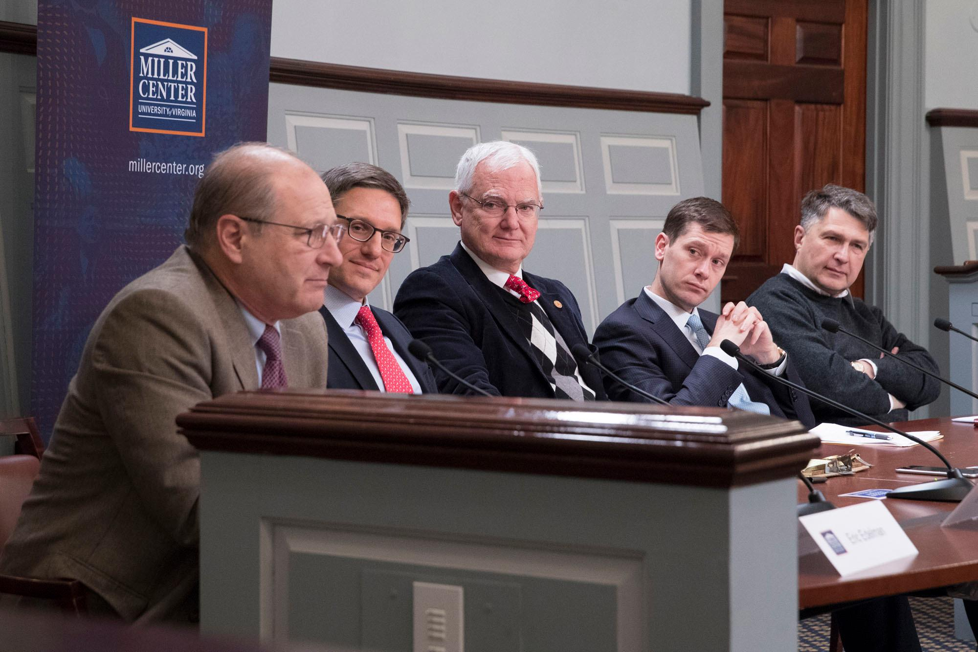 """The Putin Challenge"" panel consisted of, from left, Eric Edelman, Derek Chollet, Allen Lynch, Hal Brands and Eugene Rumer. (Photo by Dan Addison, University Communications)"
