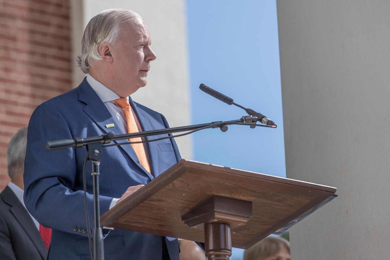 Man standing at a podium