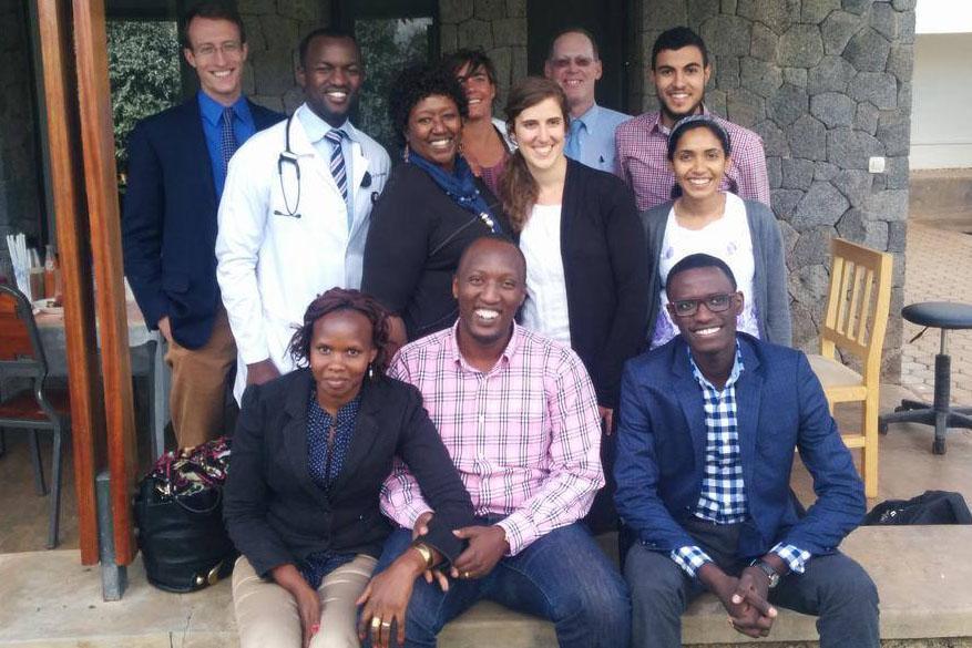 Medical student Anisha Hegde with colleagues in Rwanda.